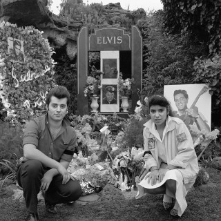 Nancy Nunez with young man on the 10th anniversary of Elvis' death Elvis Memorial Melbourne 1987