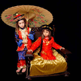 Olympia and Bridget as Lewis Carroll's Alice and Lorina Liddell in Chinese dress 2003