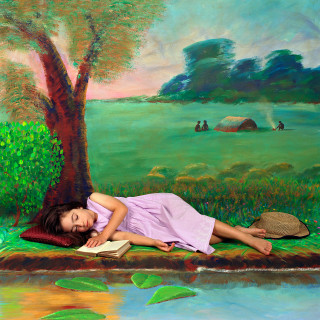 Olympia as Alice dreaming by the Riverbank 2003